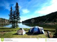 Camping Tents Near Lake Stock Photo