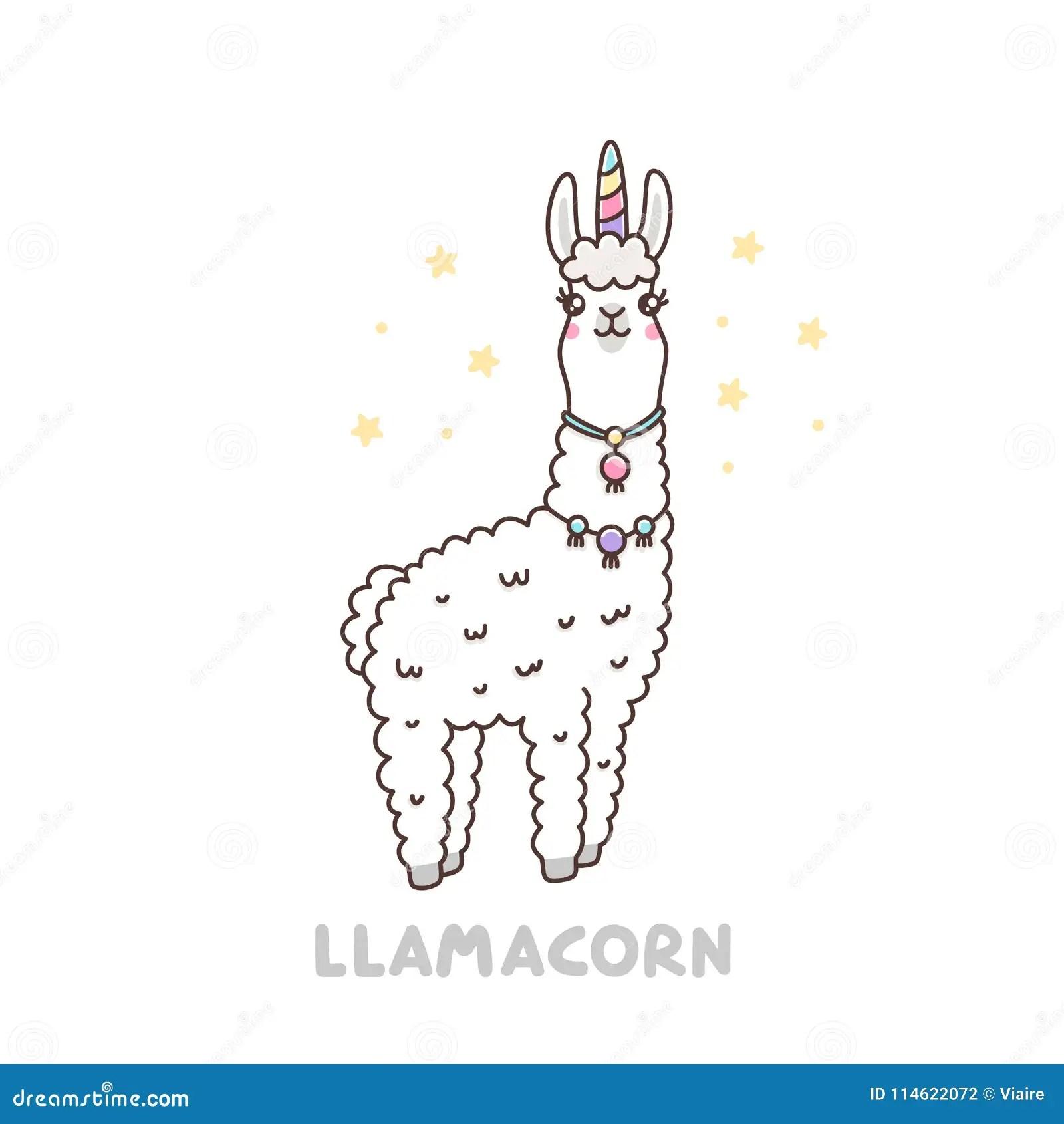 Cute Llama In A Unicorn Costume Llamacorn