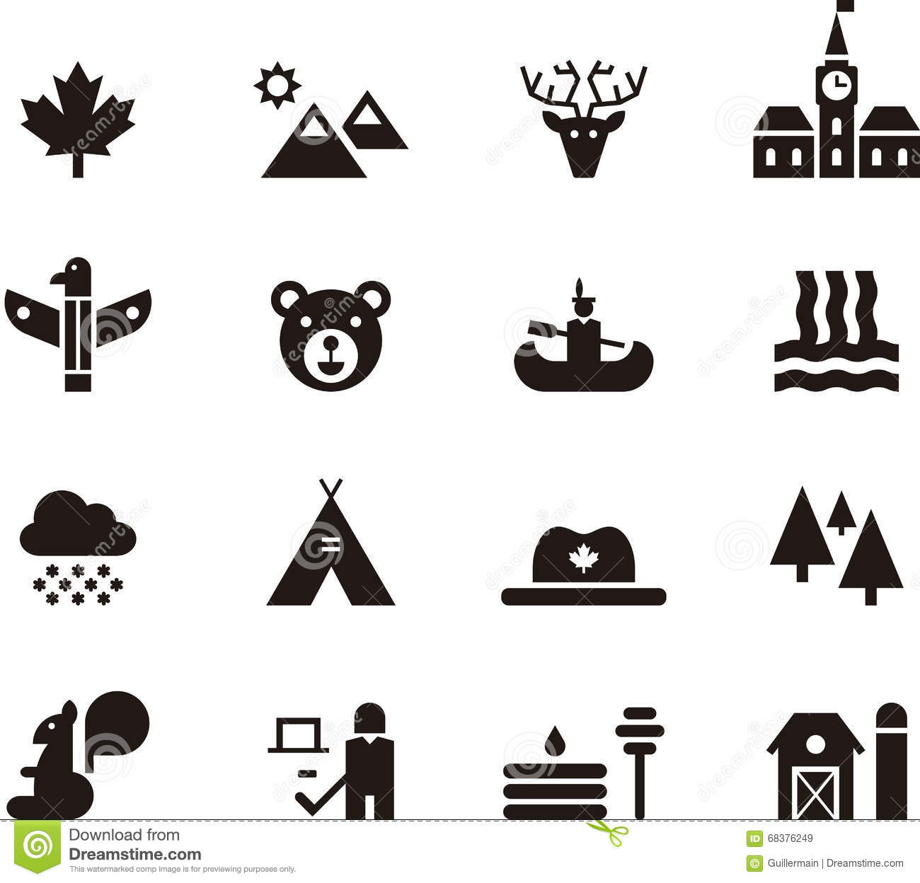 Canada Icon Set Stock Vector Image Of Barn Mountains