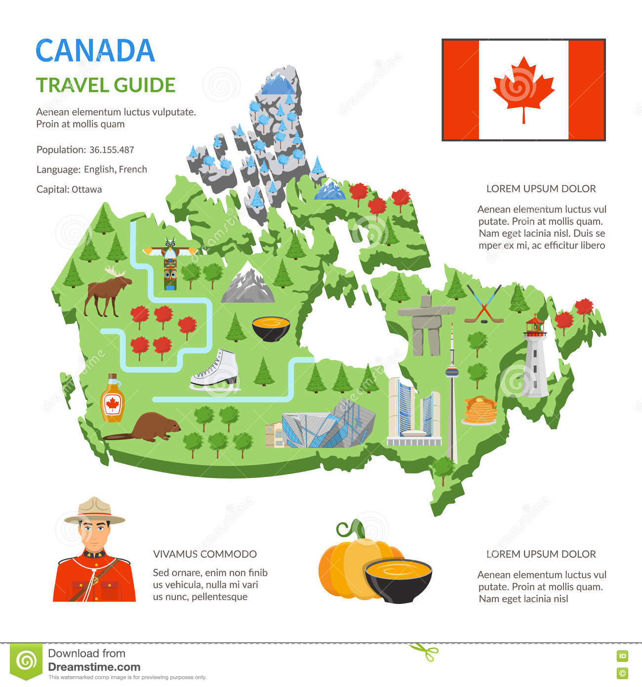 Canada Travel Guide Skyline Flat Map Poster Vector