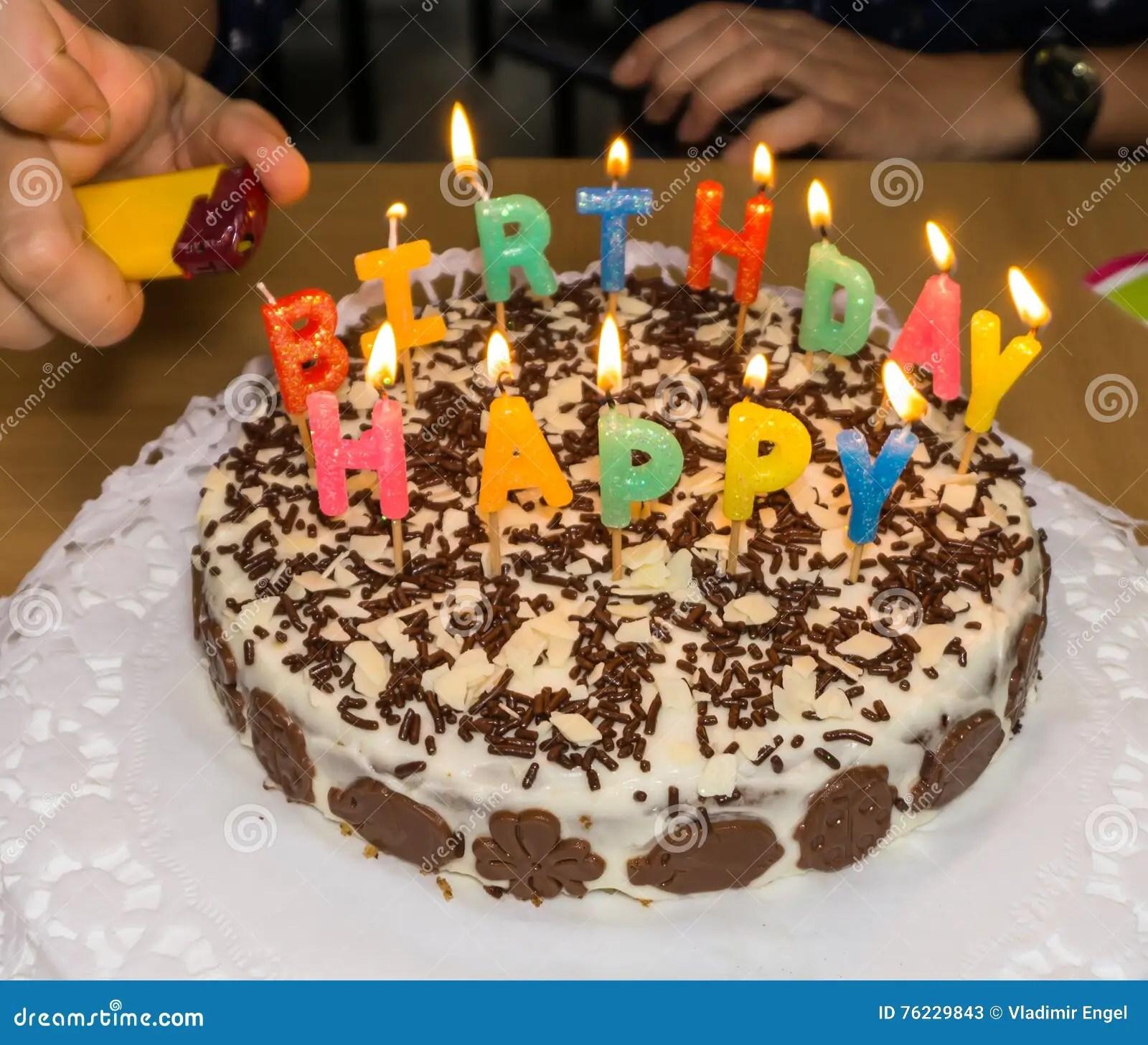 Candlelight Homemade Birthday Cake Fire Stock Image Image Of