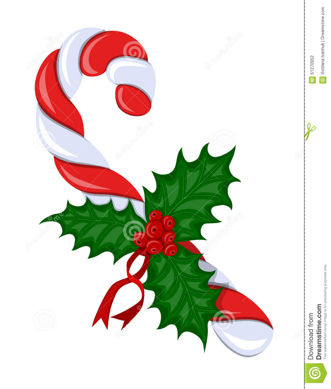 Candy Cane With Holly Berries Stock Vector Image 61270952