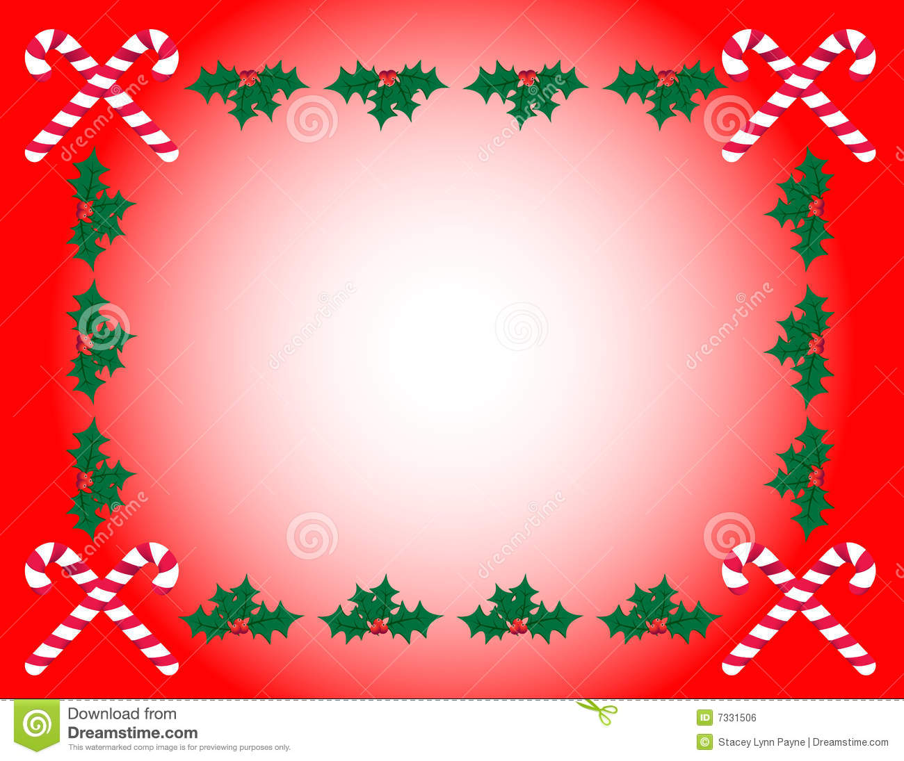 Candy Cane Amp Holly Frame Stock Vector Illustration Of
