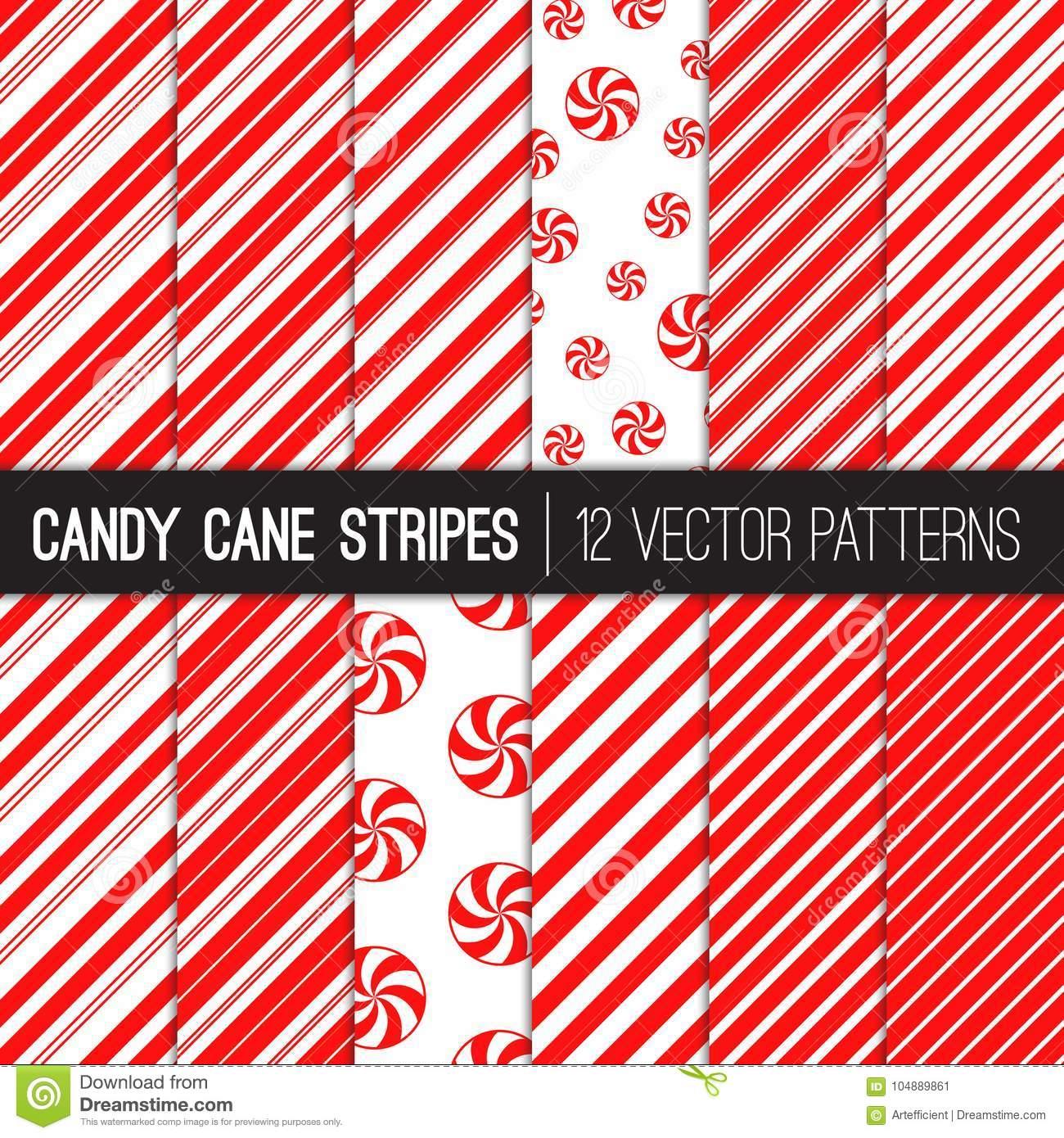Candy Cane Stripes And Peppermints Vector Patterns In Red