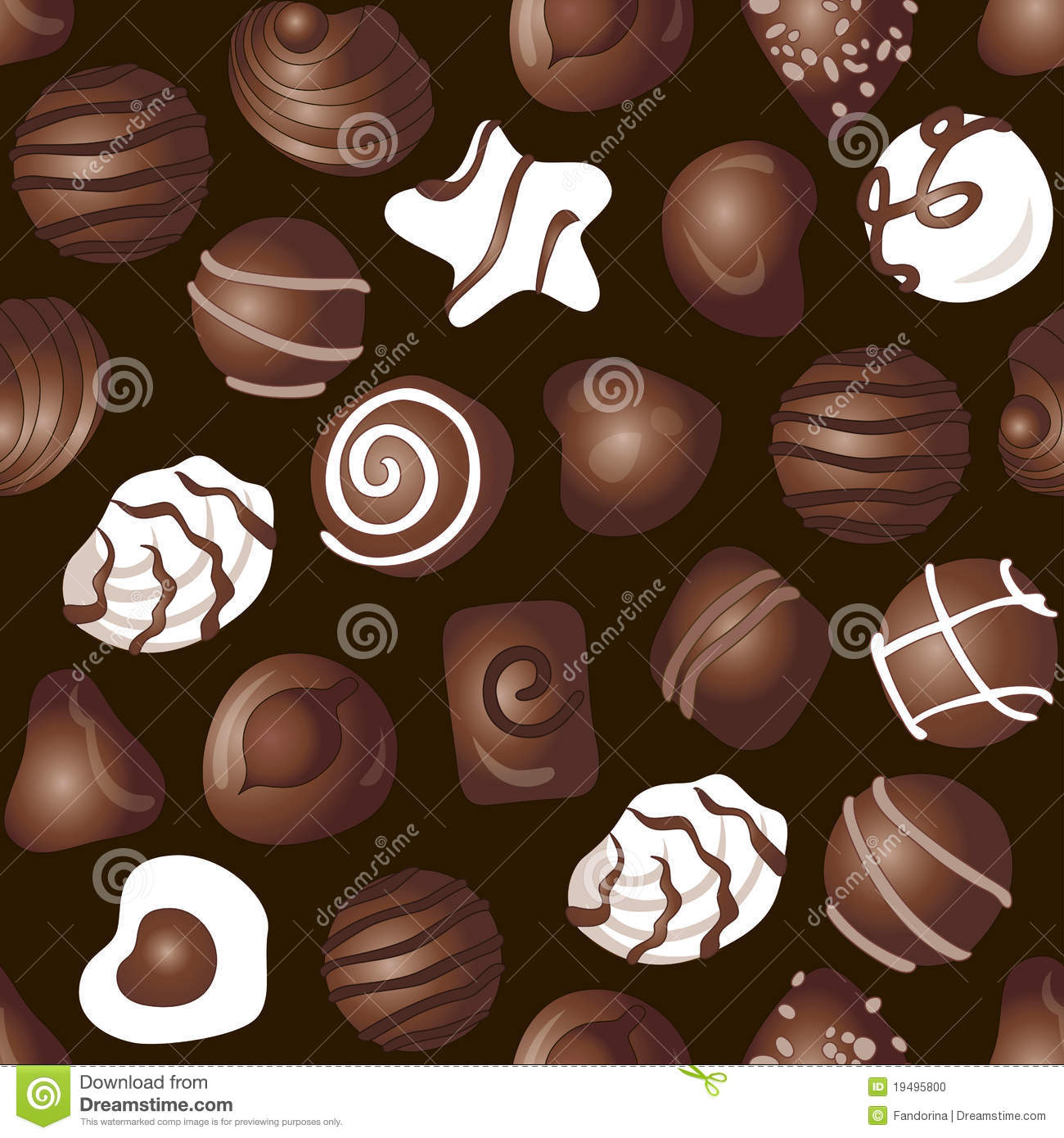 hight resolution of cartoon candy chocolate pattern a lot of different delicious chocolates on a dark brown background