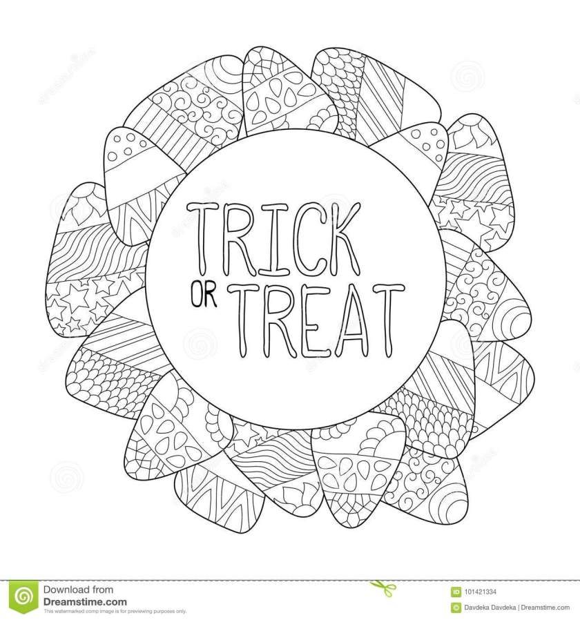 candy corn coloring page. trick or treat greeting card