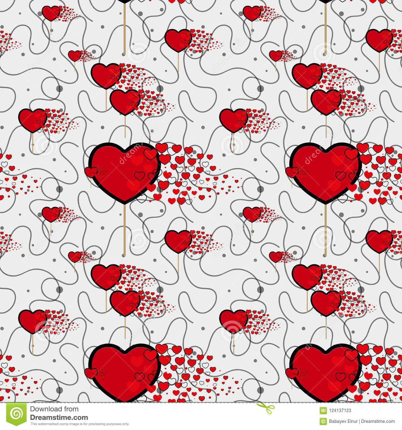 Candy Hearts And Line Pattern Vector Seamless Vector