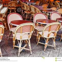 Paris Bistro Chairs Outdoor Dining Room Chair Slip Covers Uk Cane In Cafe Royalty Free Stock Photo Image