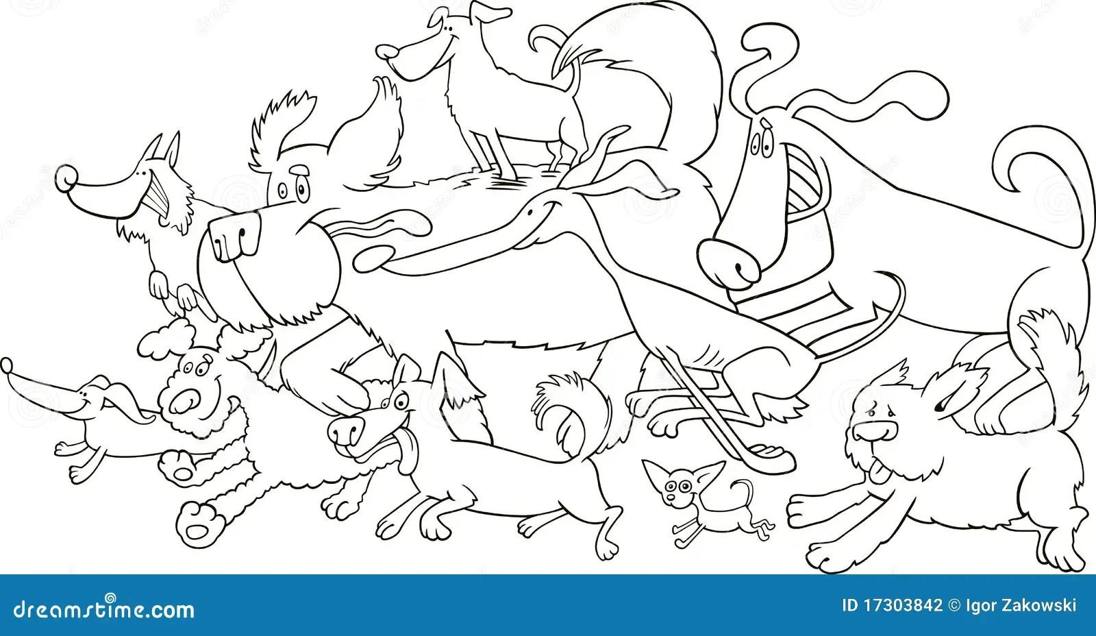 Cani Correnti Per Coloritura Illustrazione Vettoriale