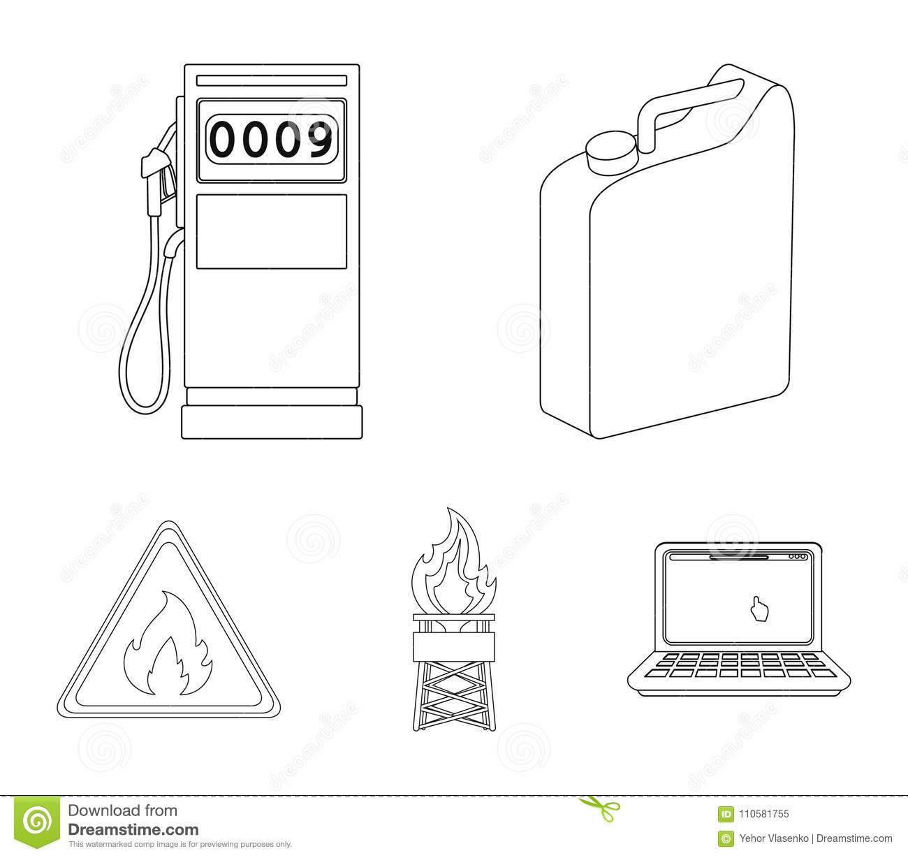 Canister For Gasoline, Gas Station, Tower, Warning Sign