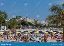 Cannes Frankreich - 13. August Ansicht Des Strandes Und