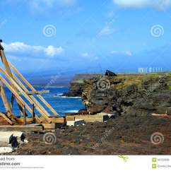 Fishing Chair Crane Drop Leaf Table With Folding Storage Canoe Hoist At South Point Royalty Free Stock Images