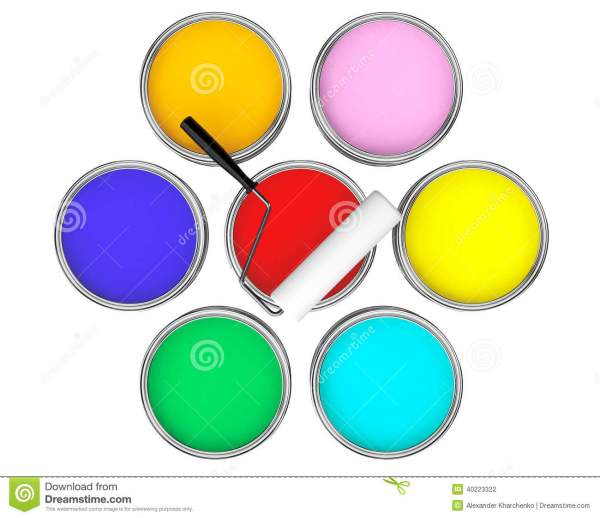 Color Paint Cans With Brush Stock #20315088