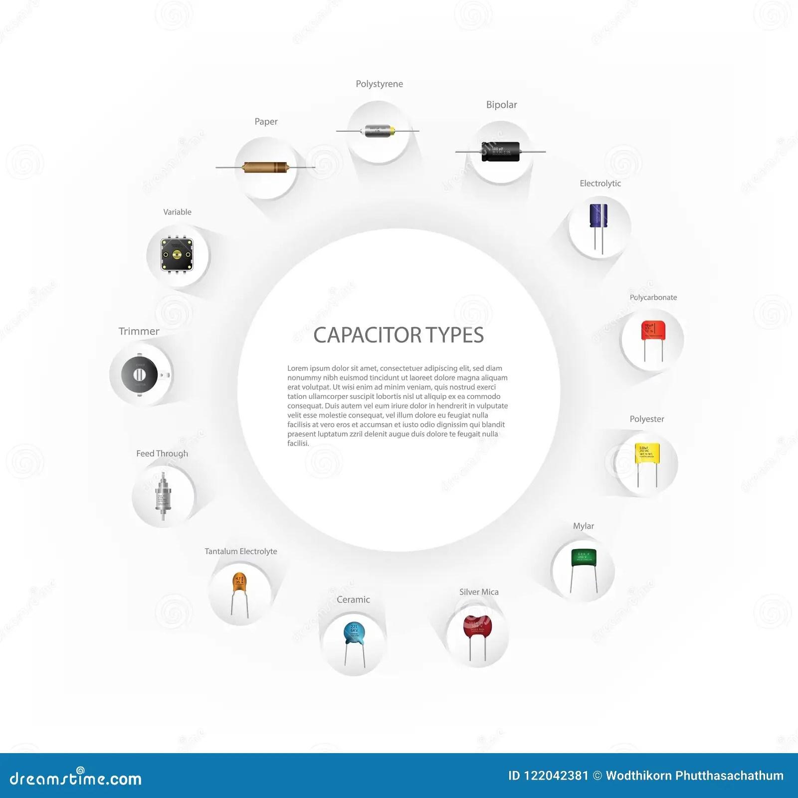 Capacitors Types Infographics Diagram Stock Vector
