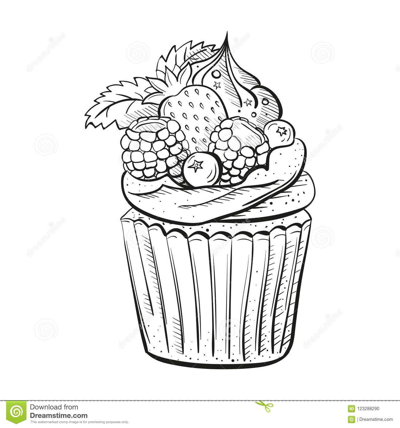hight resolution of capcake with berries cream and mint sweet beautiful dessert clipart for a restaurant