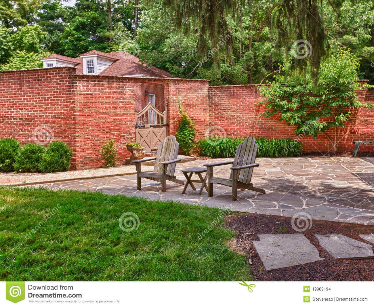 green lawn chairs caravan zero gravity chair cape cod on stone patio stock images - image: 19969194