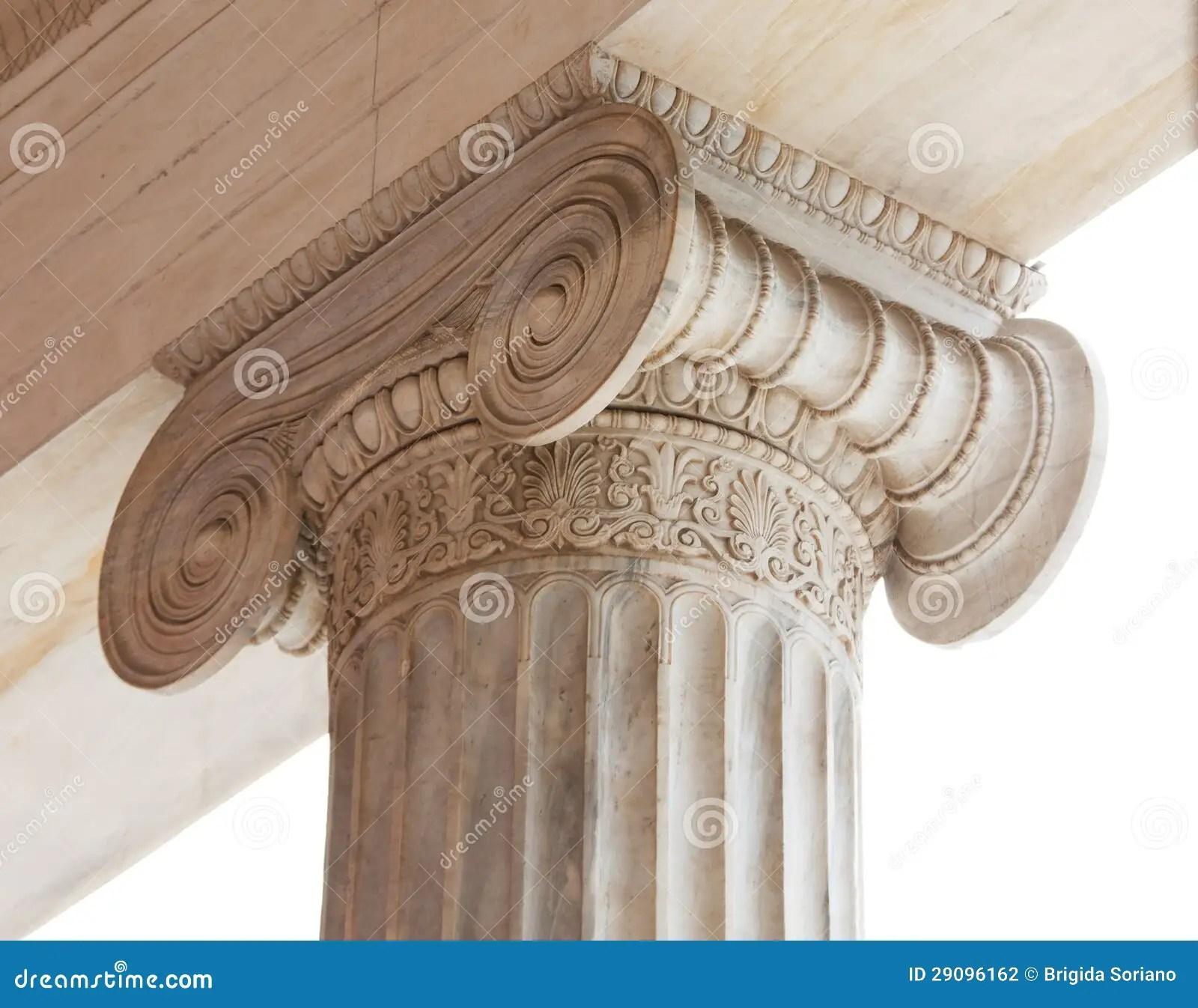 Capital Of Greek Neoclassical Ionic Column Stock Photo