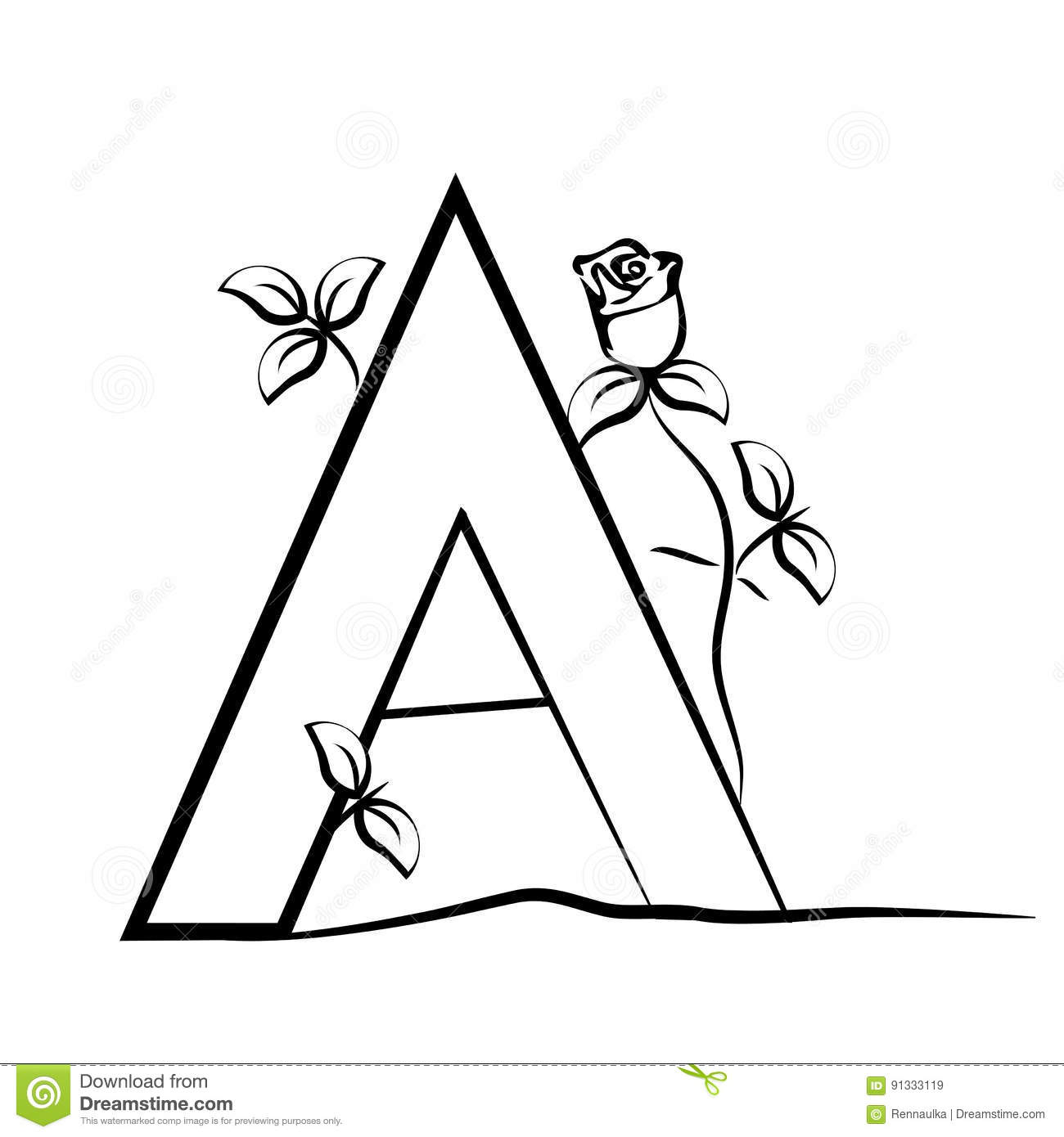 Capital Initial Letter A With Rose. Decorative Font With