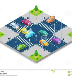 car accident and crash vector isometric 3d illustration collision at intersection with traffic lights [ 1300 x 957 Pixel ]