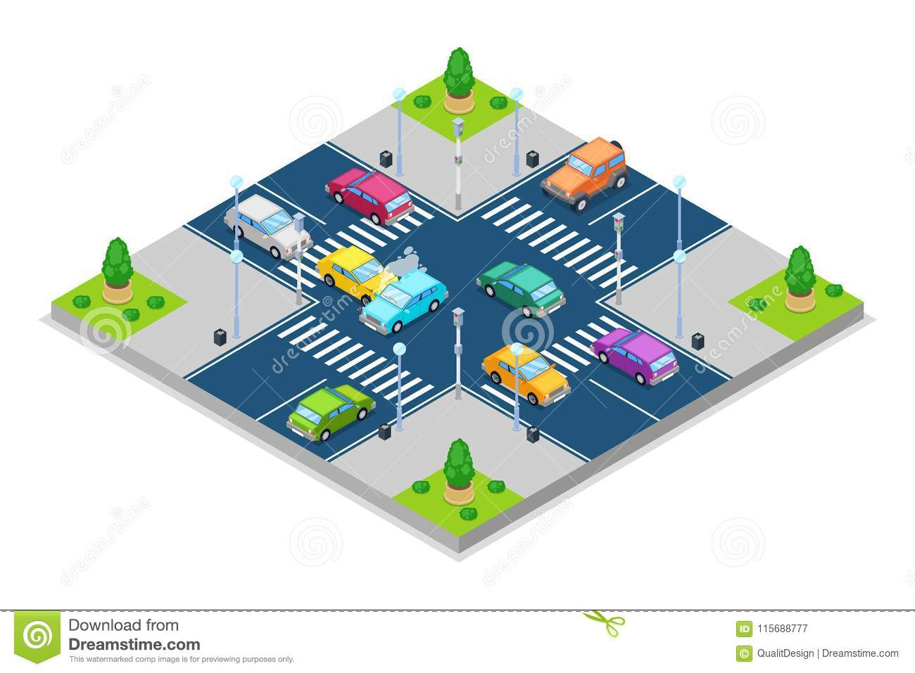 hight resolution of car accident and crash vector isometric 3d illustration collision at intersection with traffic lights