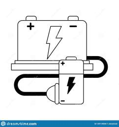 car battery and wire with plug black and white stock vector stock car battery wiring diagram [ 1600 x 1689 Pixel ]