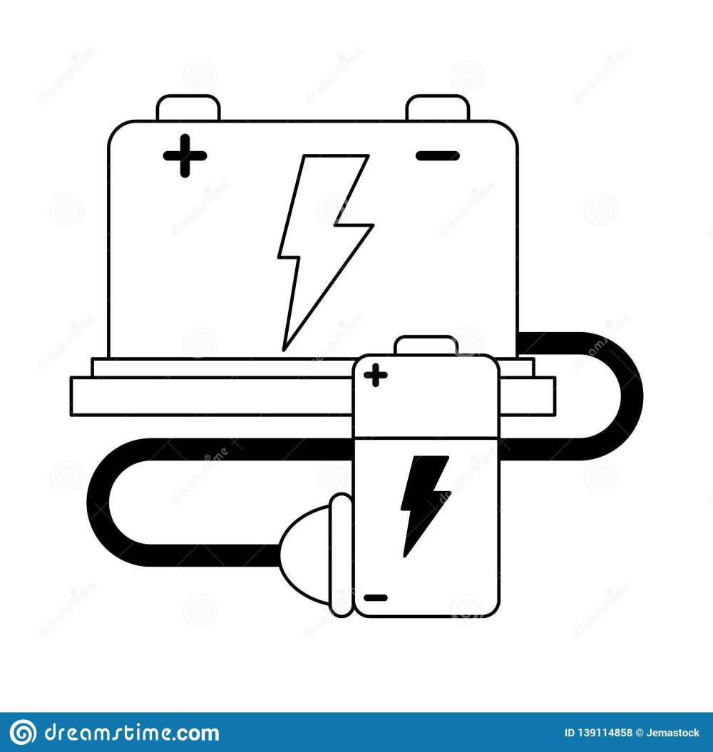 medium resolution of car battery and wire with plug black and white stock vector stock car battery wiring diagram
