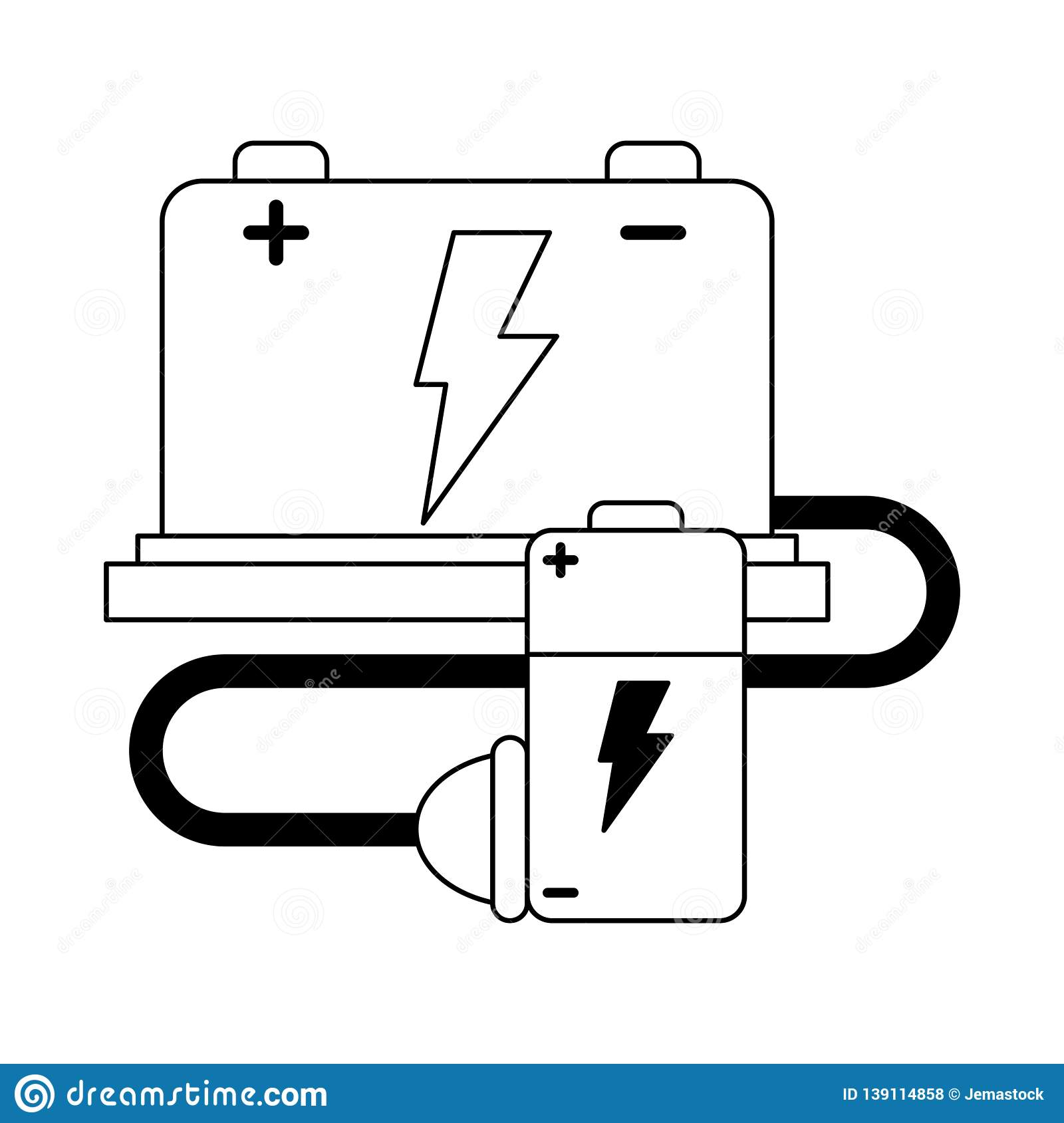 hight resolution of car battery and wire with plug black and white stock vector stock car battery wiring diagram