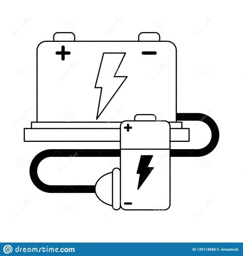 small resolution of car battery and wire with plug black and white stock vector stock car battery wiring diagram