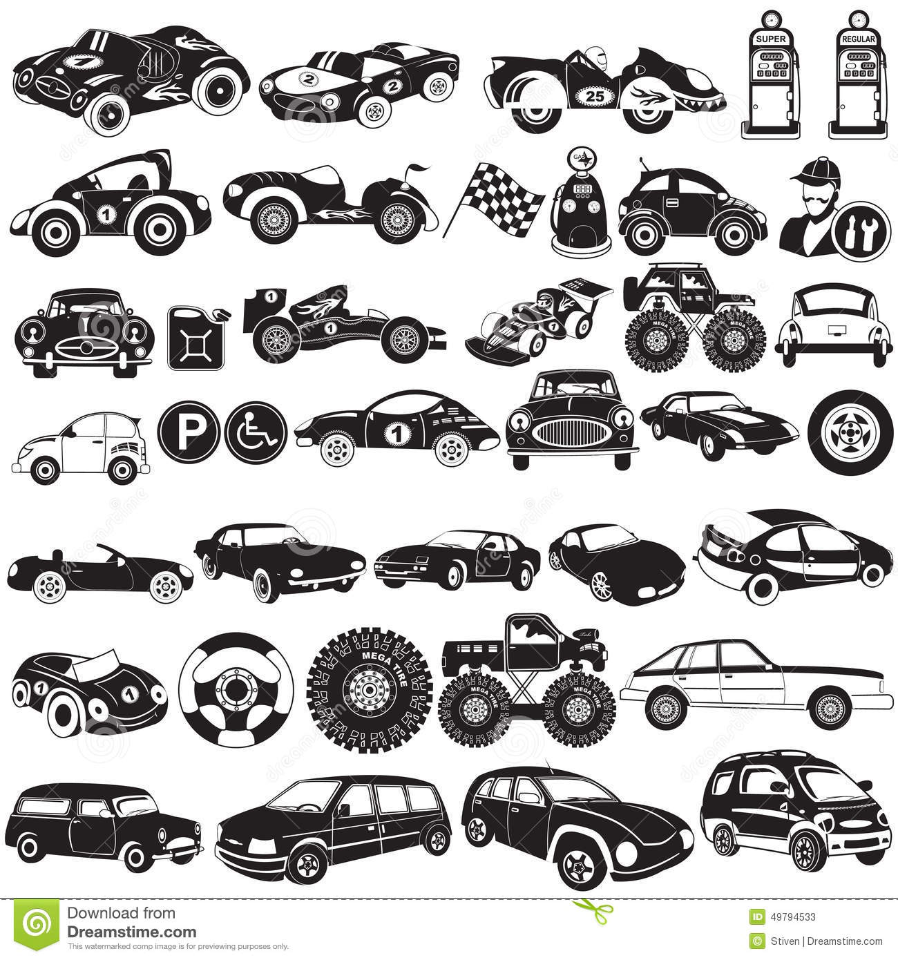 Car Black Icons Stock Vector Illustration Of Automobile