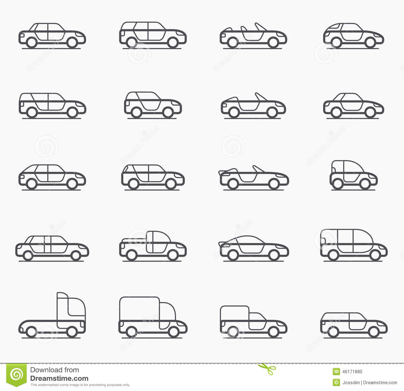 Car Body Types Icons Stock Vector