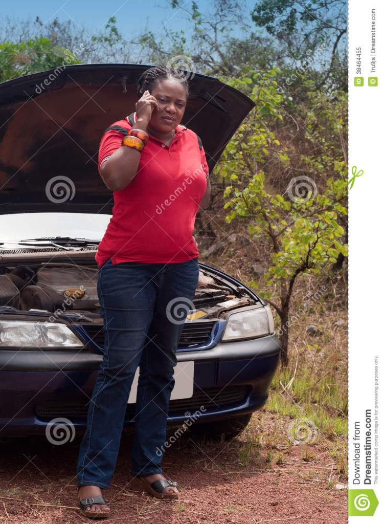 Car Breakdown African American Woman Call For Help Road Assistance Royalty Free Stock Photo
