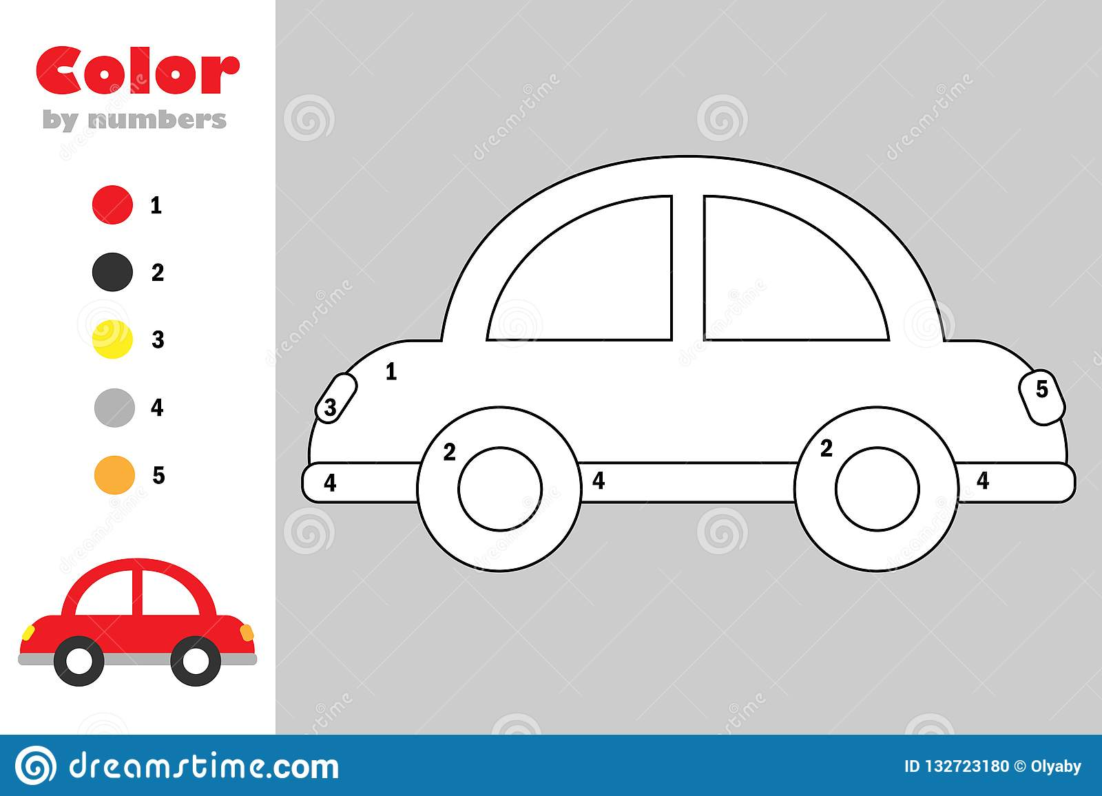 Car In Cartoon Style Color By Number Education Paper