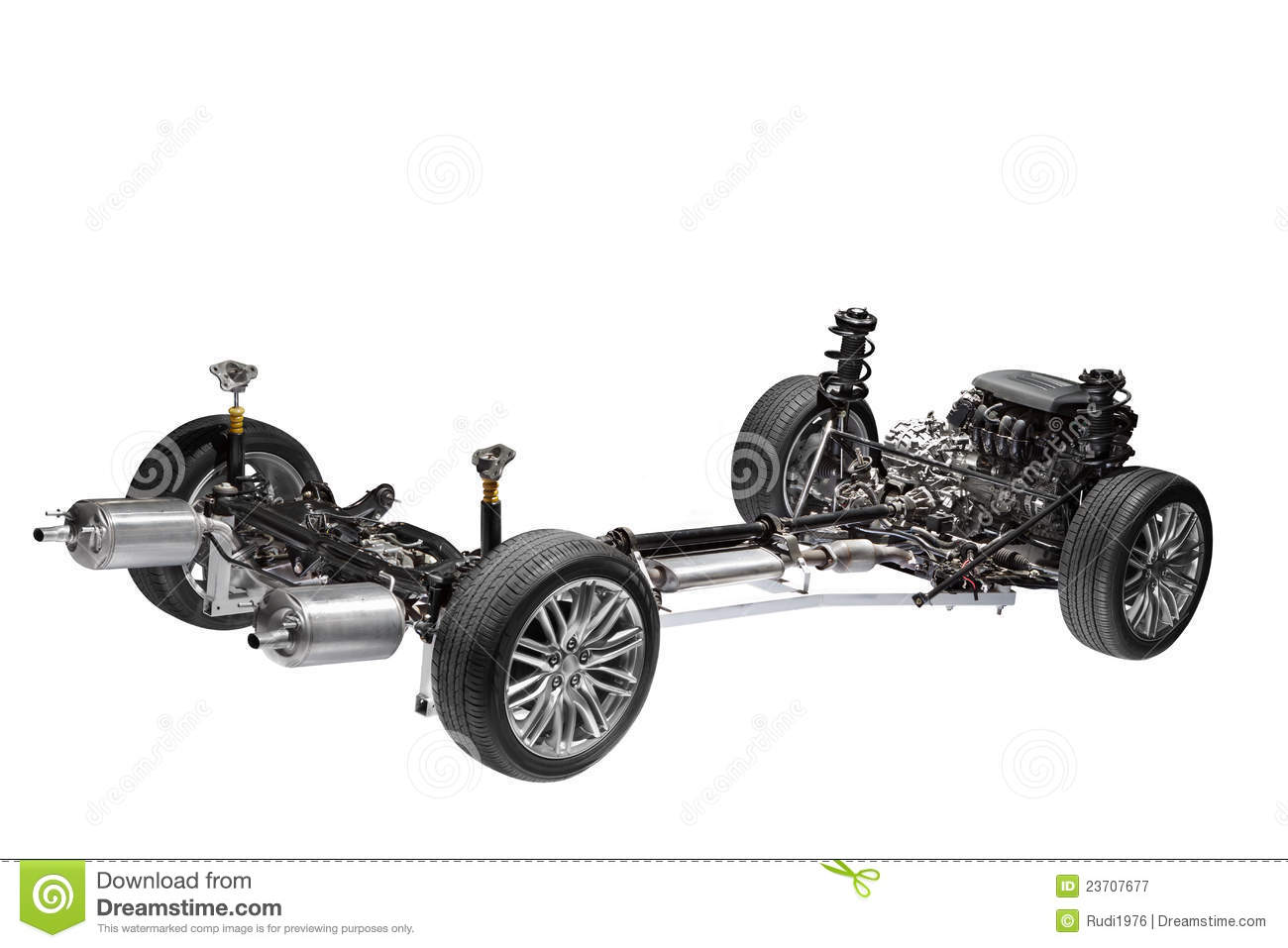 Car Chassis With Engine Royalty Free Stock Photography