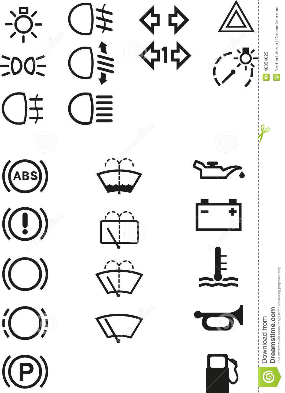 Car dashboard signs stock vector. Illustration of odometer