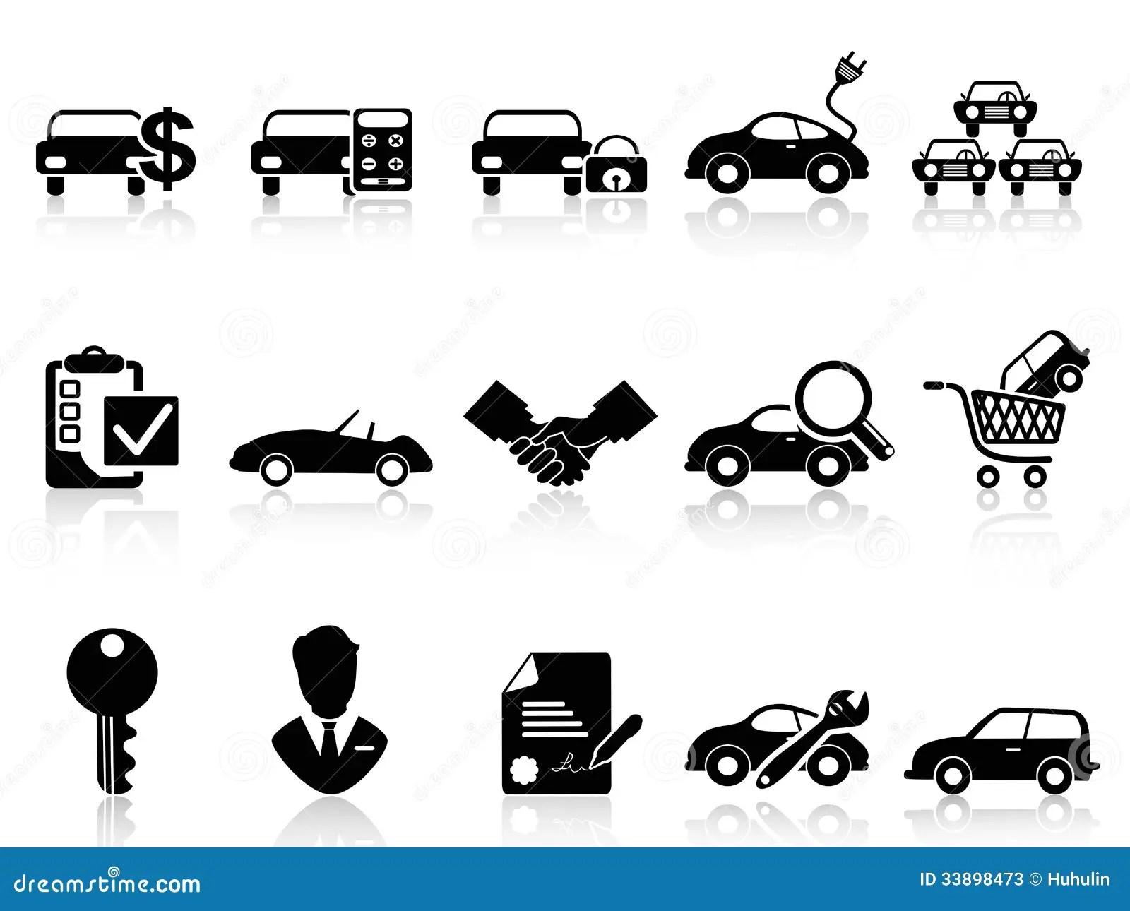 Car Dealership Icons Set Stock Photos