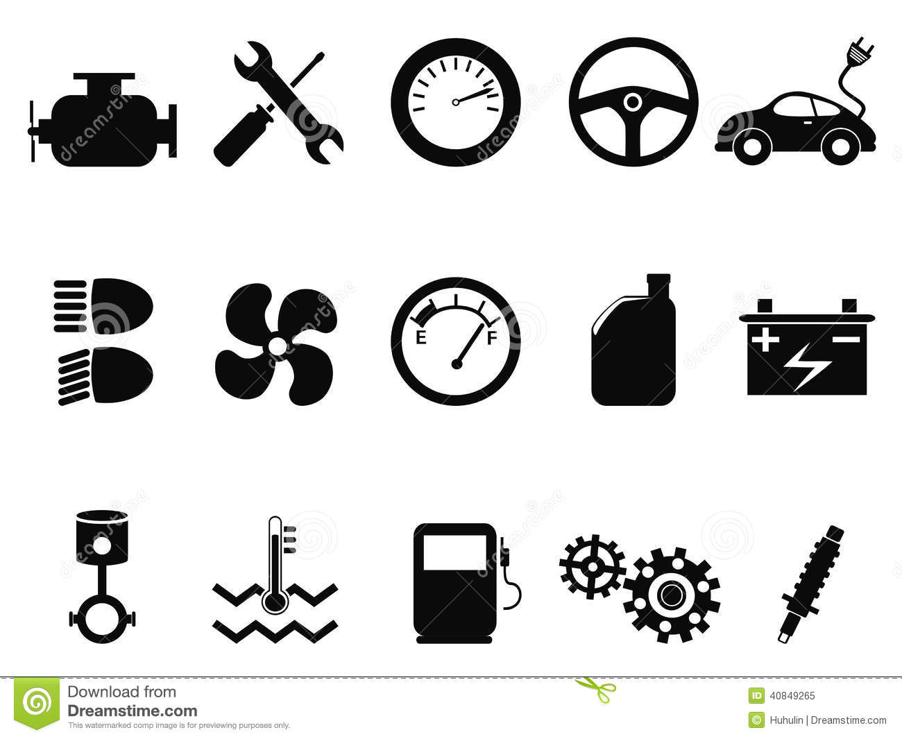 Car Engine Icons Set Stock Vector