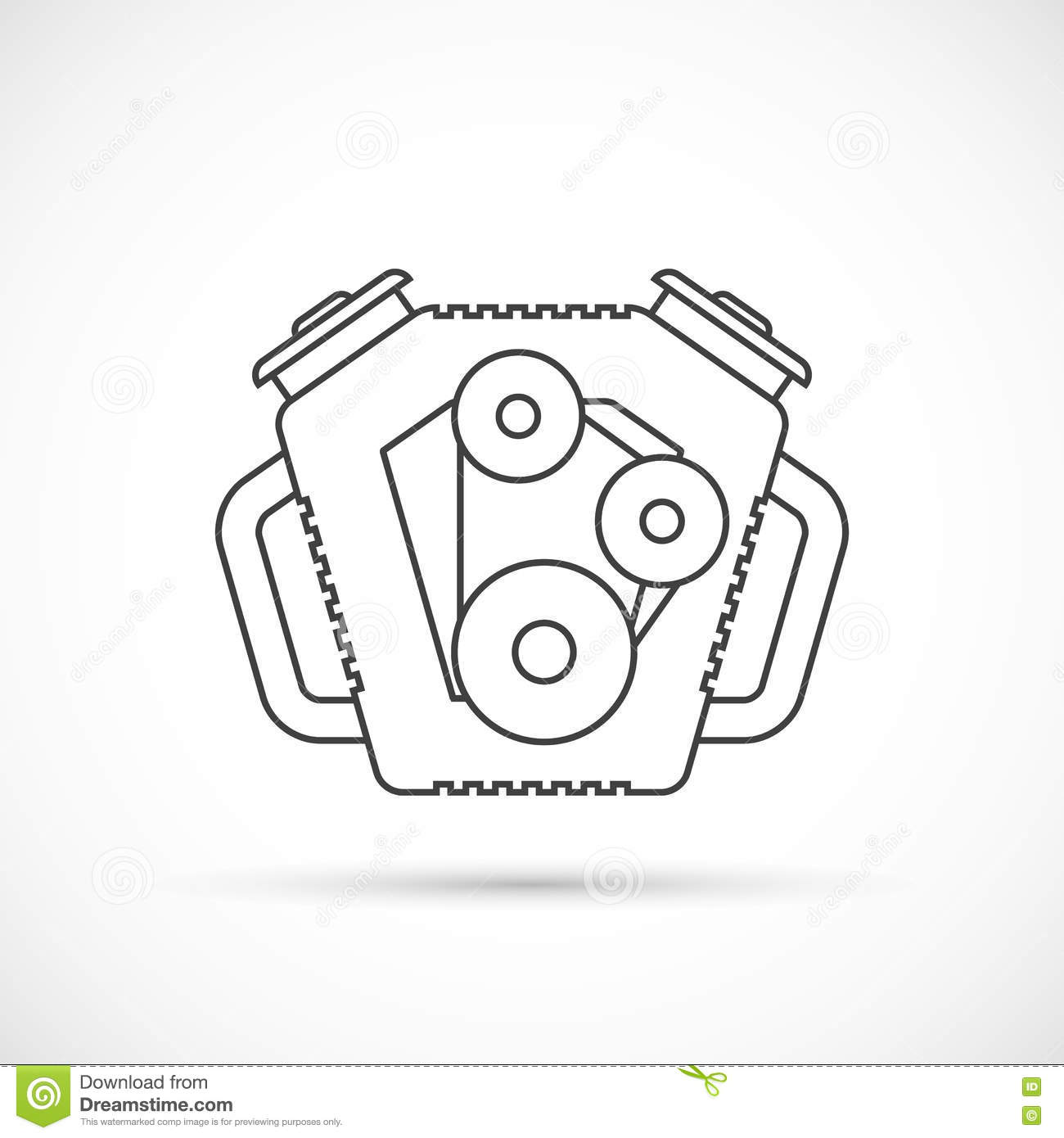 Car Engine Outline Icon Cartoon Vector