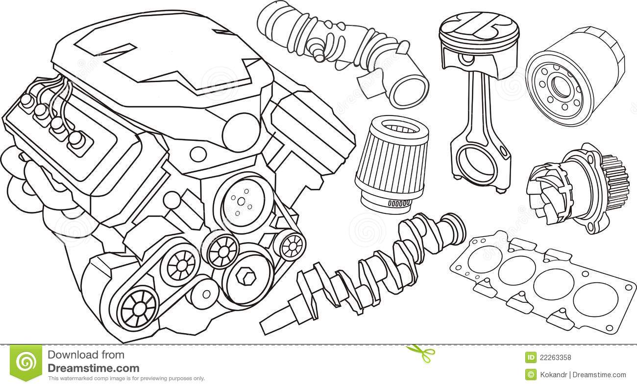 Car Engine Parts Stock Vector Illustration Of Engine