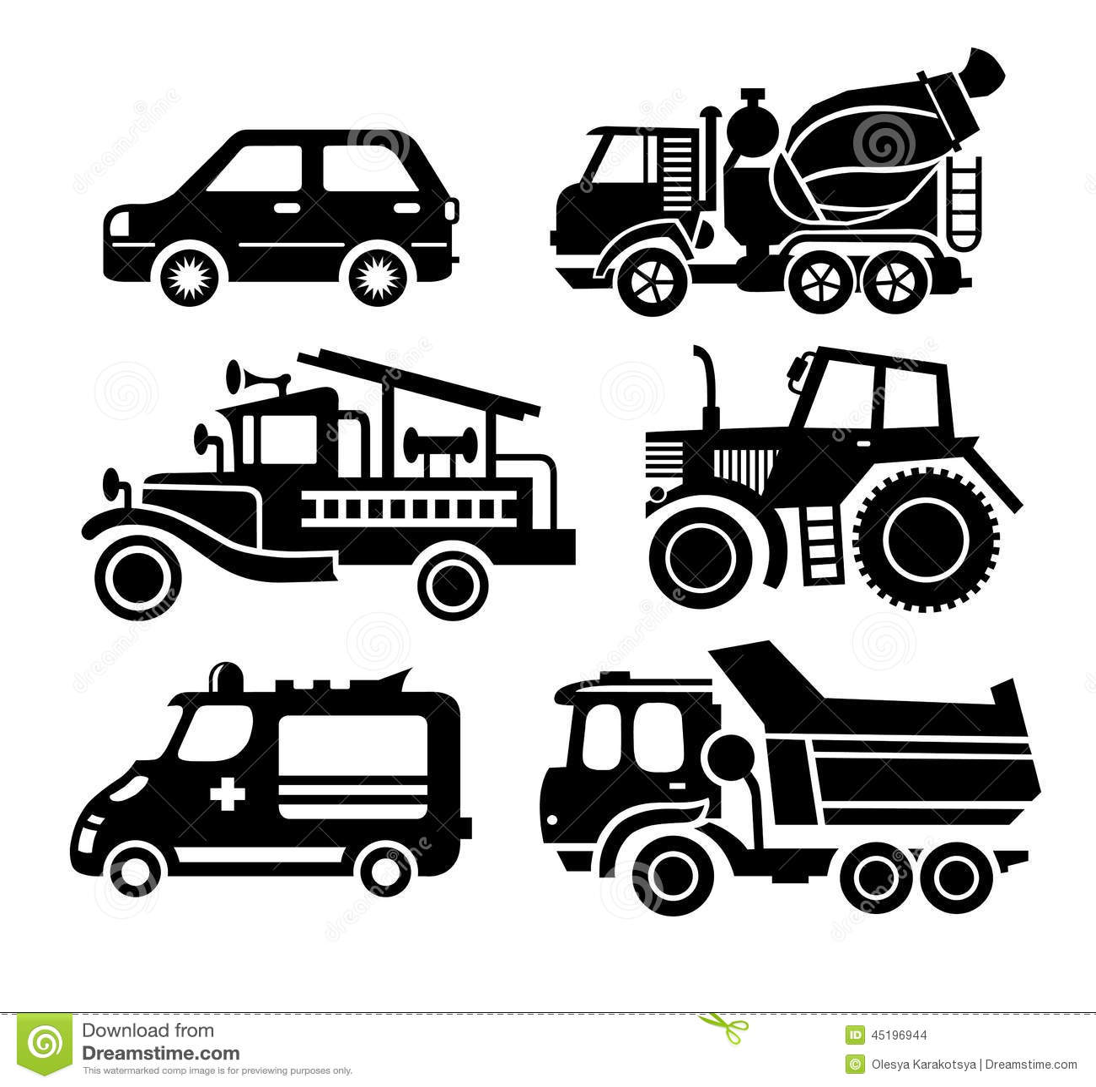 Car Icon Black Transportation Vector Set Stock Vector