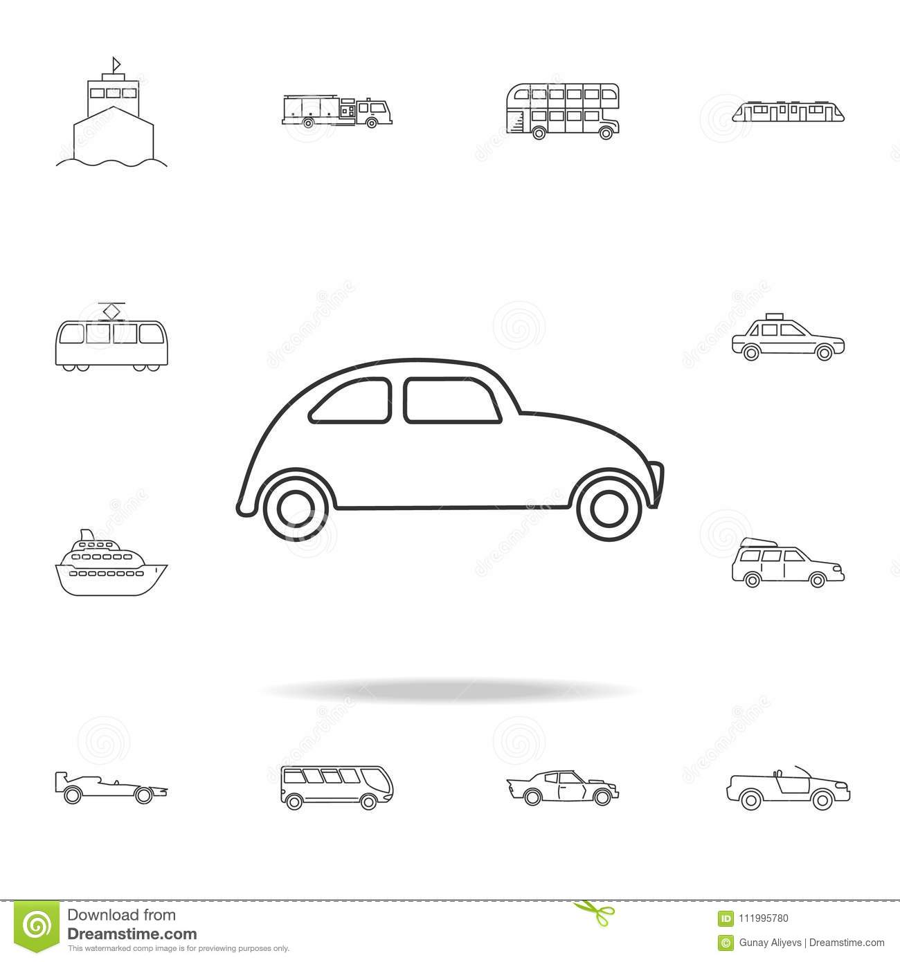 Electric Car Icon, Outline Style Cartoon Vector