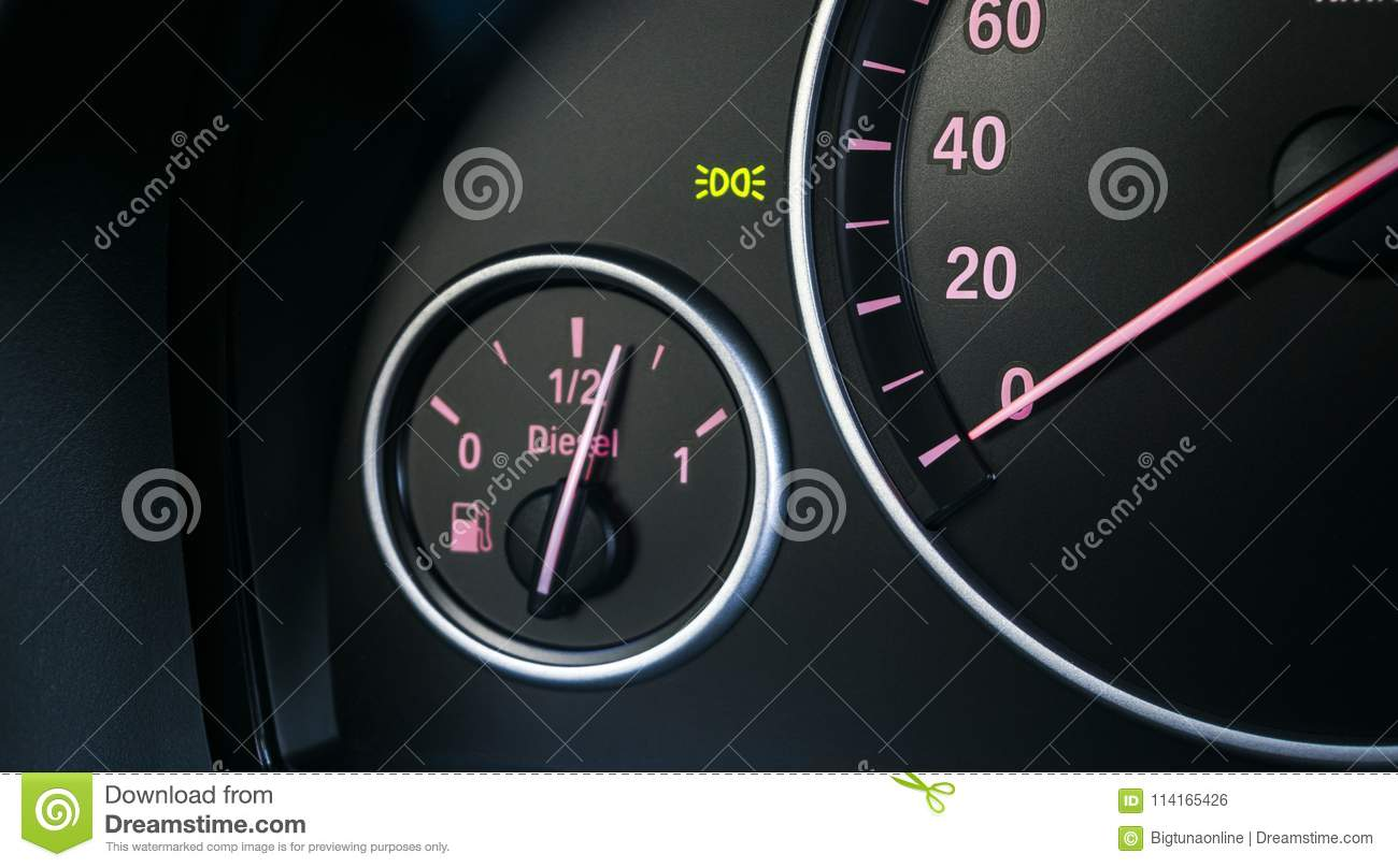 Car Instrument Panel Dashboard Closeup With Visible