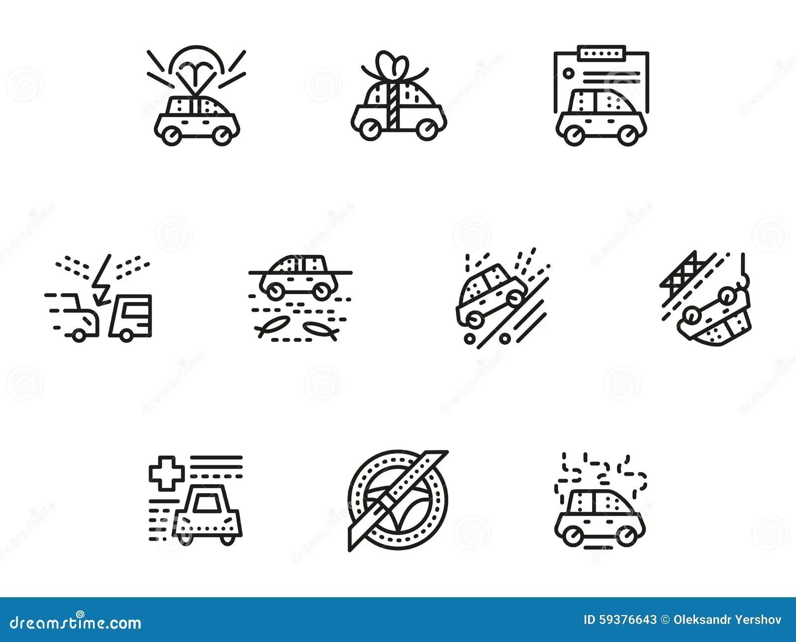 Car Insurance Simple Line Icons Set Stock Illustration
