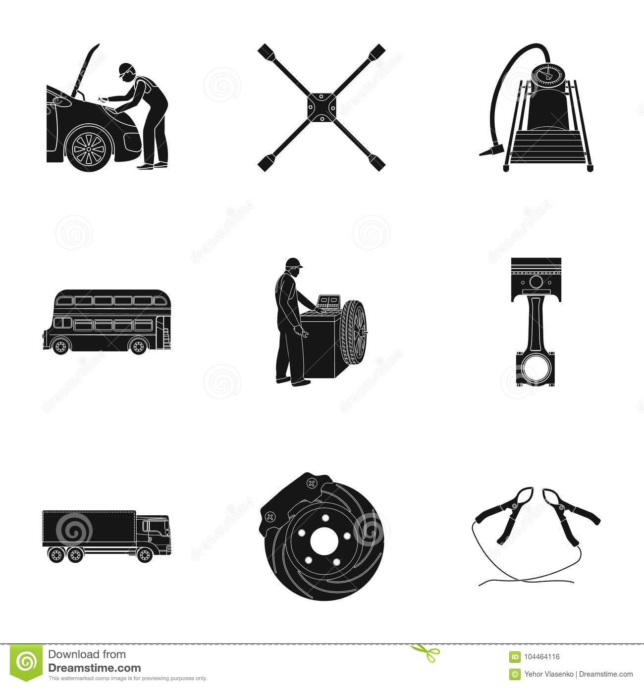 Car Lift Pump And Other Equipment Black Icons In Set