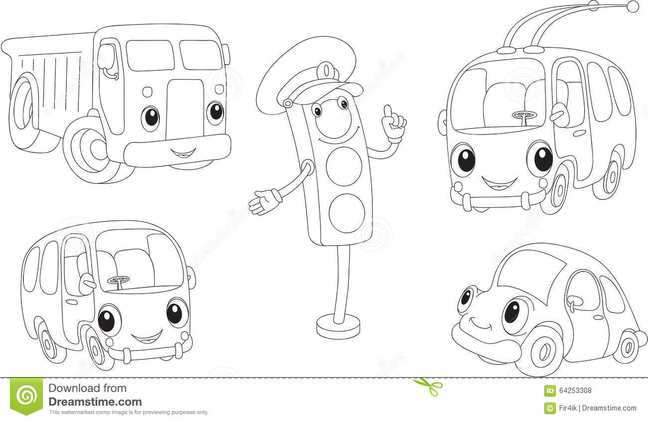 Car, Lorry, Bus, Trolleybus And Traffic Lights. Coloring