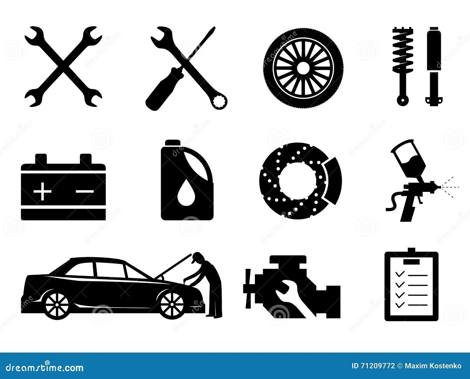 Auto Repair Maintenance Car Mechanic Symbol Set Vector