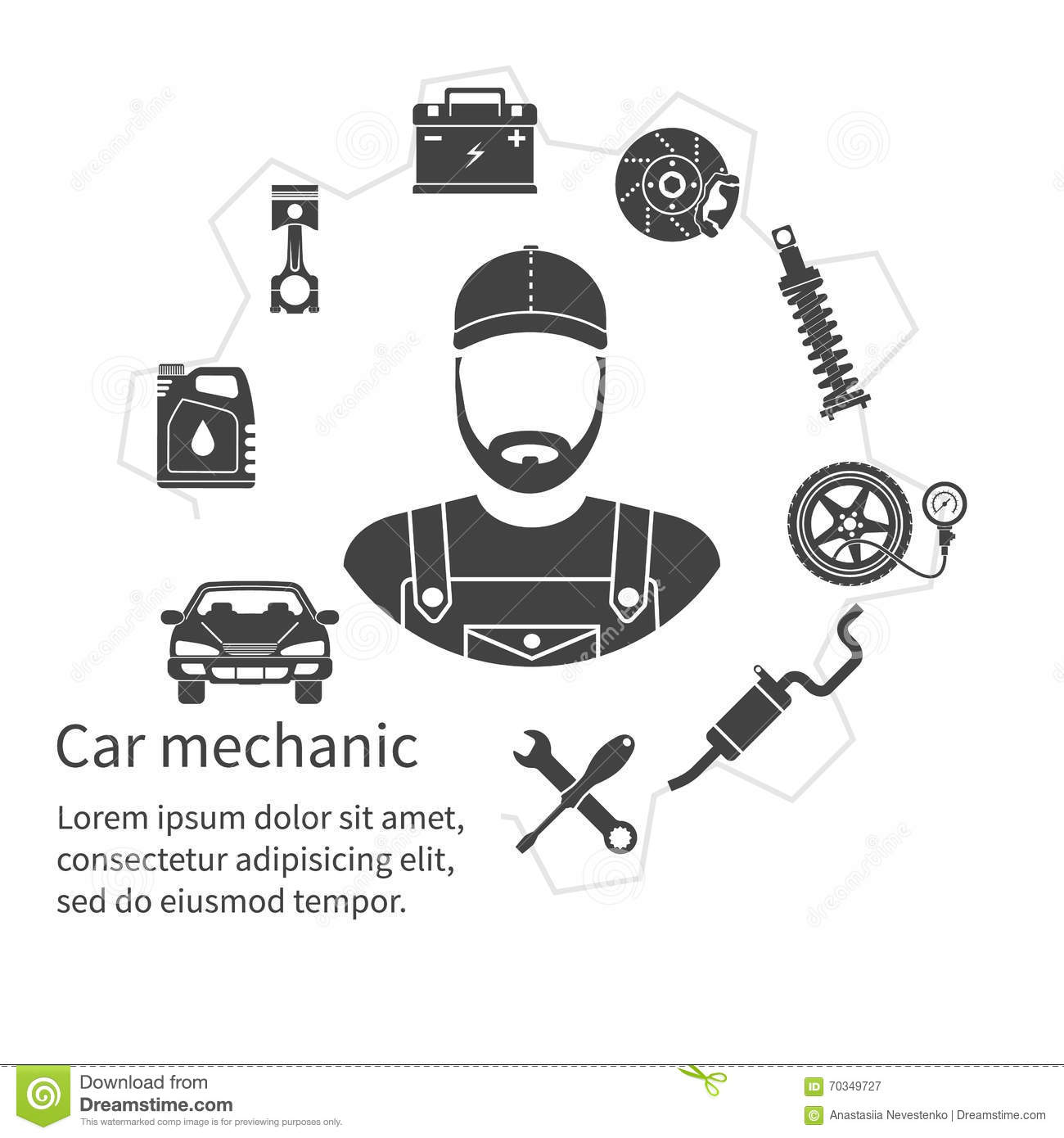 Car Mechanic Icons Tools And Spare Parts Concept Stock