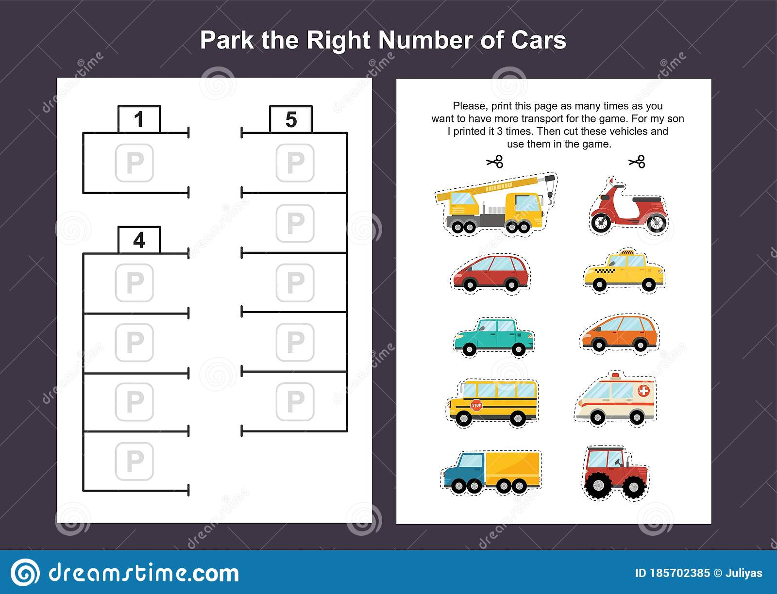 Car Parking Lot Printable Game Template For Kids Stock