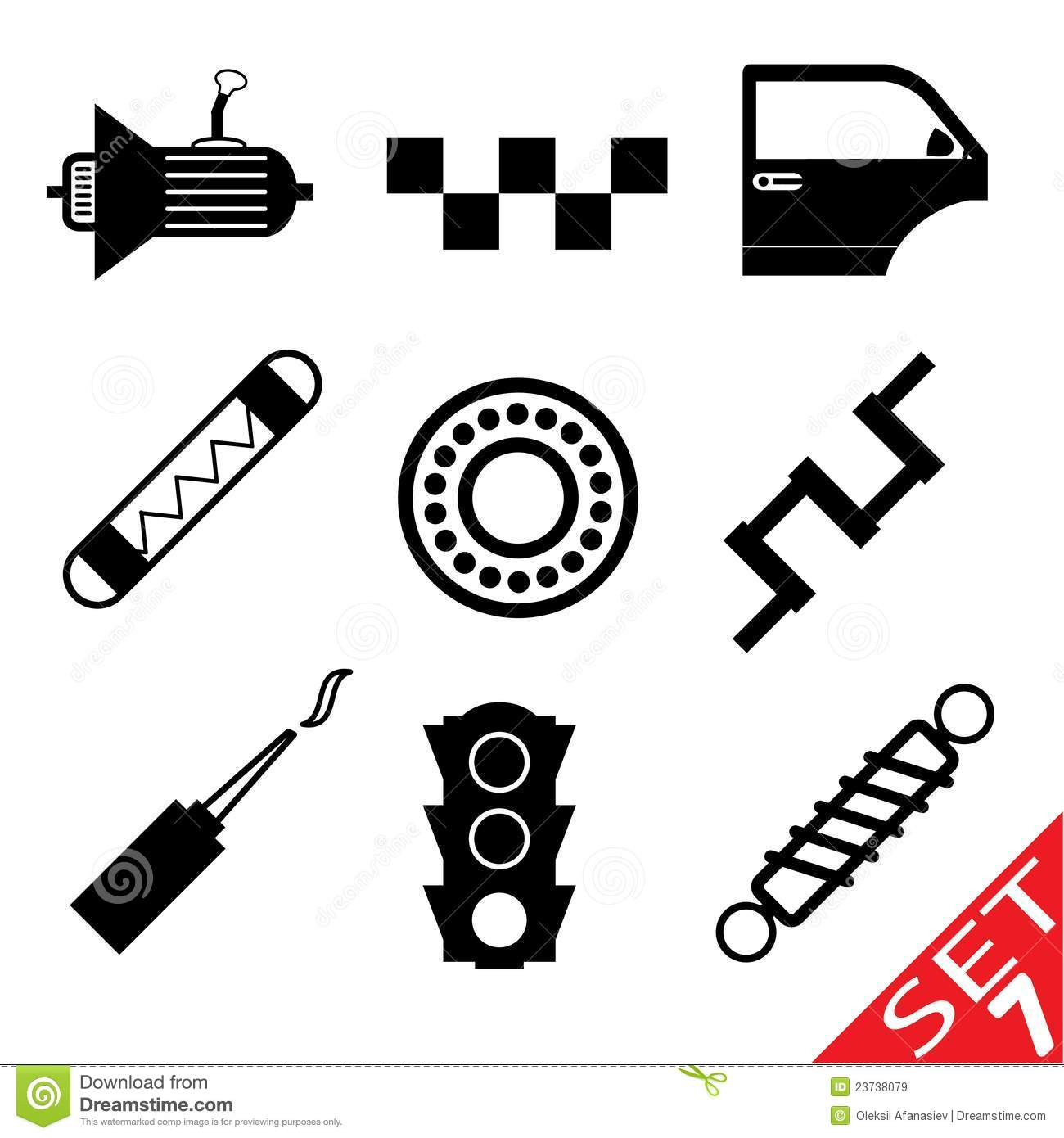Car Part Icon Set 7 Stock Vector Image Of Group Curve