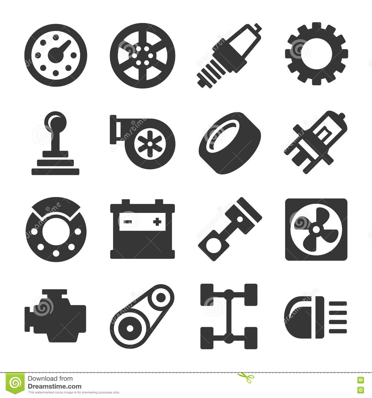 Car Parts Icons Set On White Background Vector Stock
