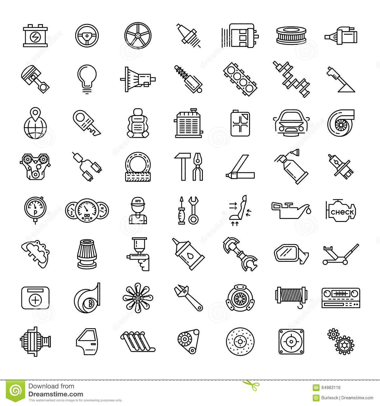 Car parts line icons set stock vector. Illustration of